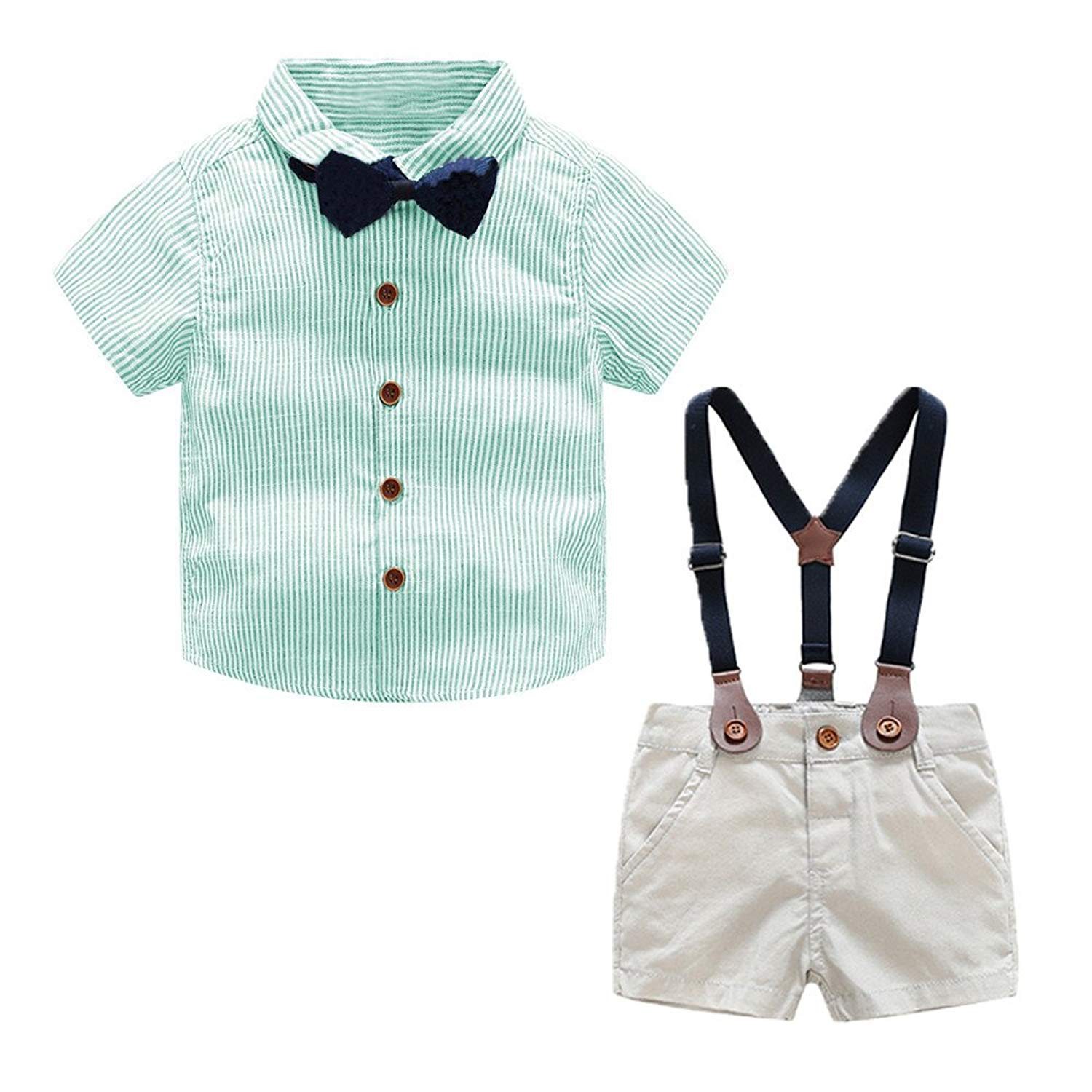 Moyikiss Studio Toddler Baby Boys Gentleman Outfits Short Sleeve Striped Shirt+Straps Shorts+Bow Tie 3Pcs