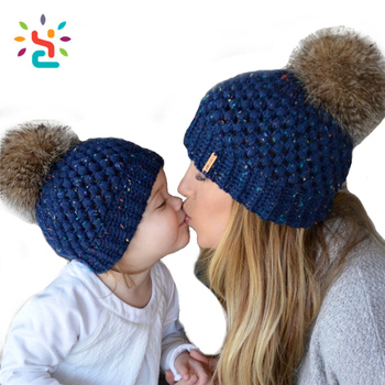 a8d8cd595 Wholesale Pom Pom Beanies Hat Baby And Mum Family Fold Up Eye Holes Poms  Hat With Top Ball Free Size Beanie Cap - Buy Wholesale Ball Beanie Hat,Pom  ...