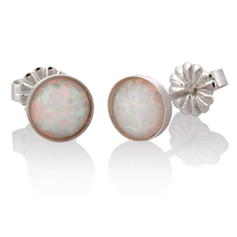 Sterling Silver White Opal Stud Earrings Round 6mm Minimalist