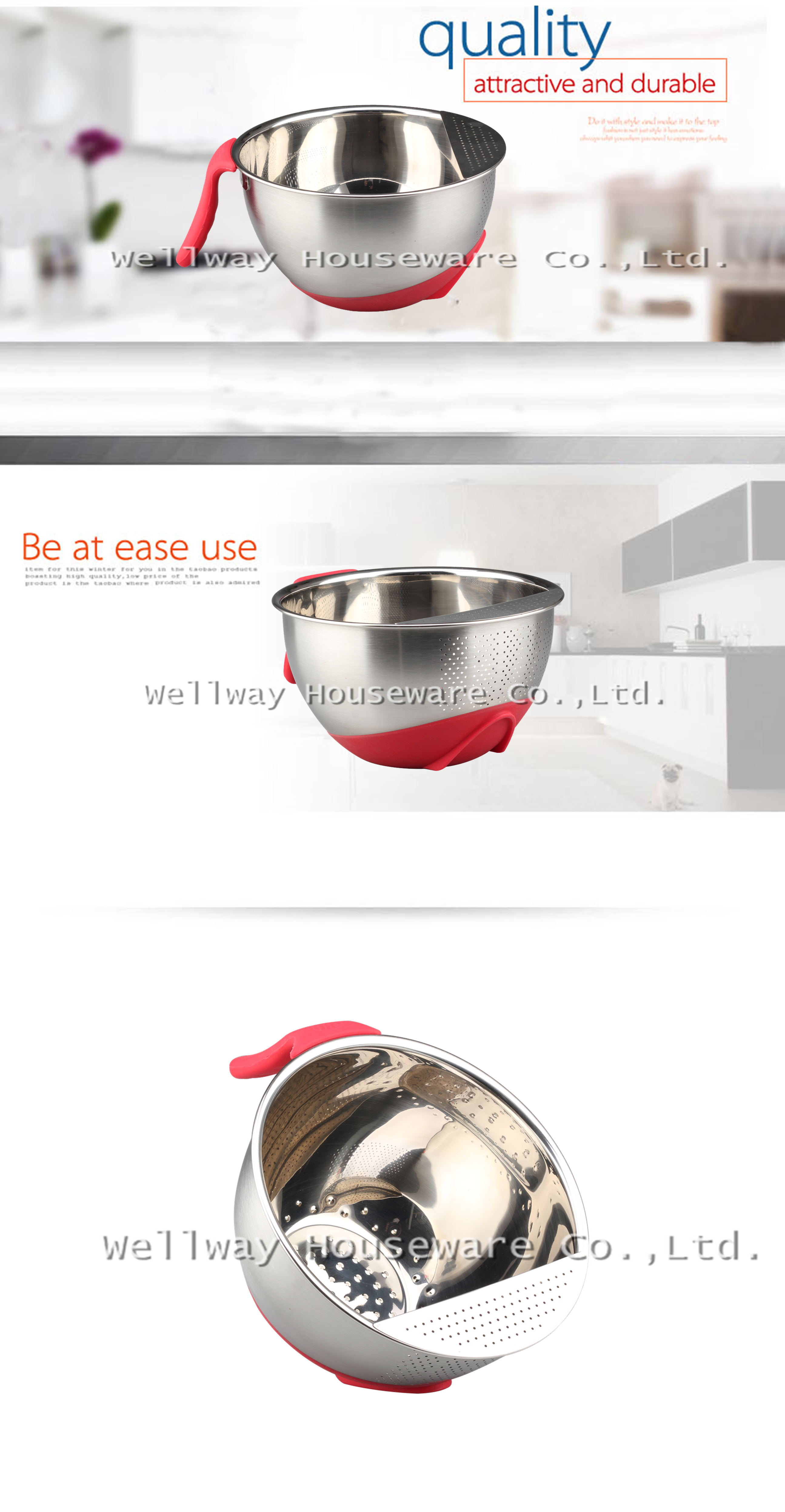 Stainless Steel Rice Washing Bowl WIth Non-slip Base Long Handle Fruit & Rice Washing Bowl Kitchen Strainer With Side Drainers