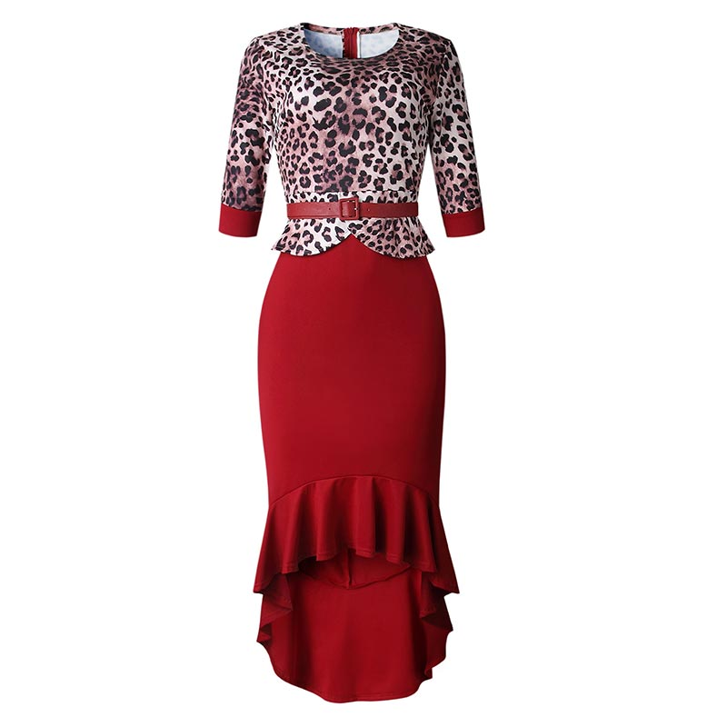 L51485 Plus Size Party Half Sleeves Occassional Leopard Upper Mermaid Dress
