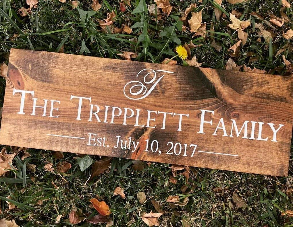 FAST SHIPPING UNIQUE PERSONALIZED GIFT Family Last Name Wooden Sign with Initial and Wedding Date. Custom name plaques custom Wooden Sign - Painted or Engraved Options .sign#244