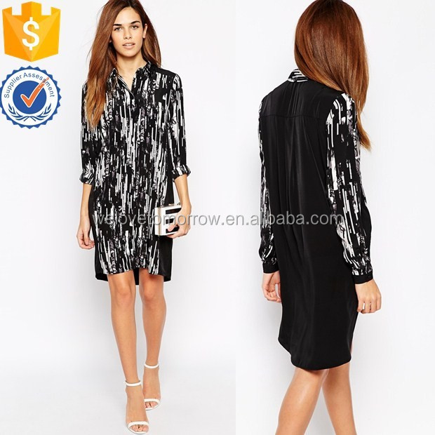 Fashionable newest design women long sleeve scratchy printed shirt midi dress wholesale TW1377D
