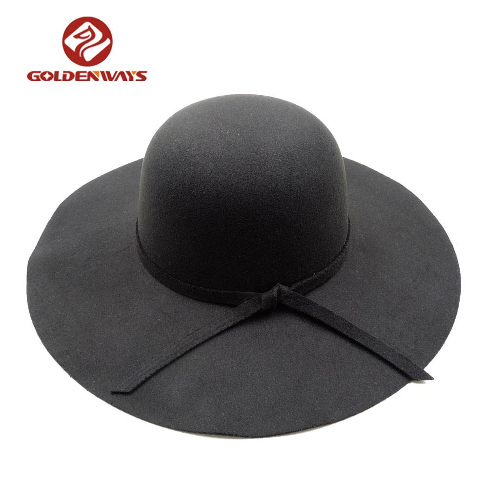 プロモーション安いレディース冬ブラックカラーワイドつばフェルト女性帽子
