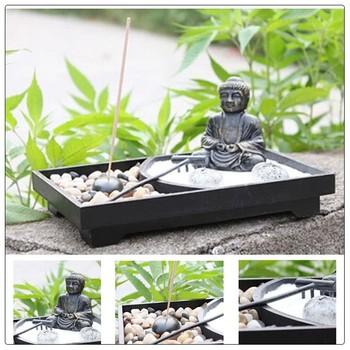 Asia Fengshui Interior Jardin Zen Antiguo Buda Estatua Jardin Zen
