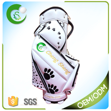 Hot Sale Puppy Footprint PU Leather Golf Staff Bag