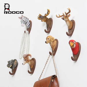 ROOGO Rustic Realistic Resin Jungle Animal Bust Statue Utility Key Coat Towel Wall Mounted Hooks Home Decoration