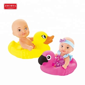 Cartoon frog duck squirt floating duck rubber bath toy with doll