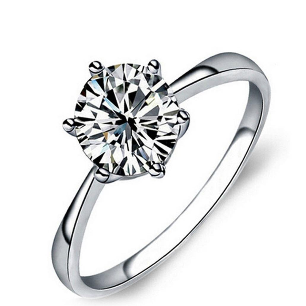 Jewelry,AutumnFall 2017 New Women's Fashion Filled Wedding Engagement Alloy Crystal Rings (Size 8, Silver)