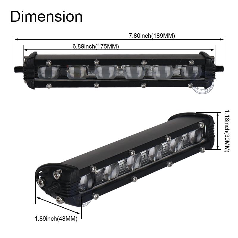 OVOVS 7 inch 18 wát siêu mỏng dẫn thanh ánh sáng cho xe tải