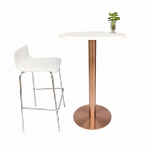 Rose Gold Brushed Stainless Steel Bar Table and chair set Bar furniture set