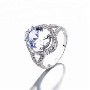 Fashionable Custom Handmade Jewellery 925 Sterling Silver Big Stone Gemstone Ring For Female