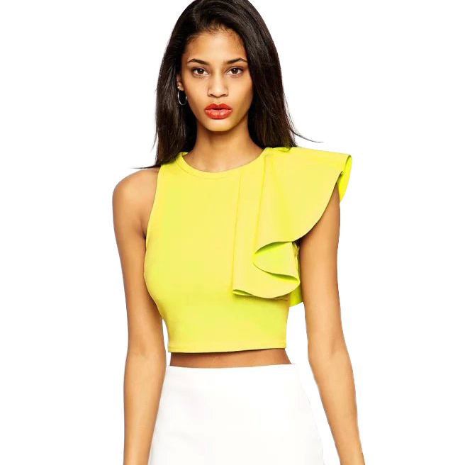 cb6076830ff55 Get Quotations · Fashion Summer tops 2015 Short Design Yellow One-shoulder  Ruffle Bustier Crop Top Casual Fitness