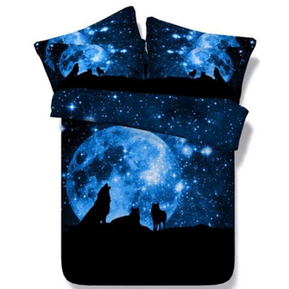 Alicemall Galaxy Wolf Bedding Set King Size Dreamlike Moonlight 3D Wolf Printed 5-Piece Deep Blue Comforter Sets(2 Pillowcases, Flat Sheet, Comforter, Duvet Cover) (King)
