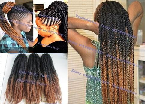 "Stocks! cheap price best quality 20"" fold colored two tone black/brown synthetic kinky twist marley braid hairs"