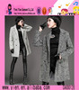 Europe Fashion Fur Collars Belt Overcoat Hot Sale Long Style Charming Elegant High Quality Ladies Overcoat