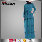 100% cotton knitting green plain color long sleeve jersey abaya