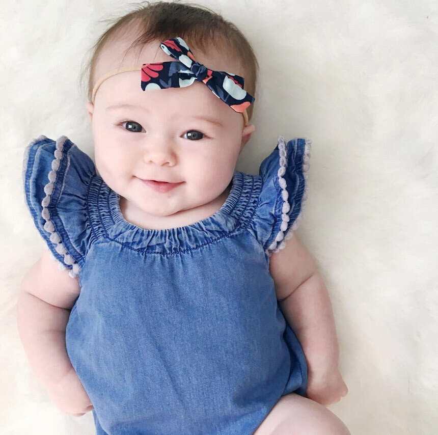Flutter Sleeve Jeans Denim Romper Baby Kids Baby Dress Girls