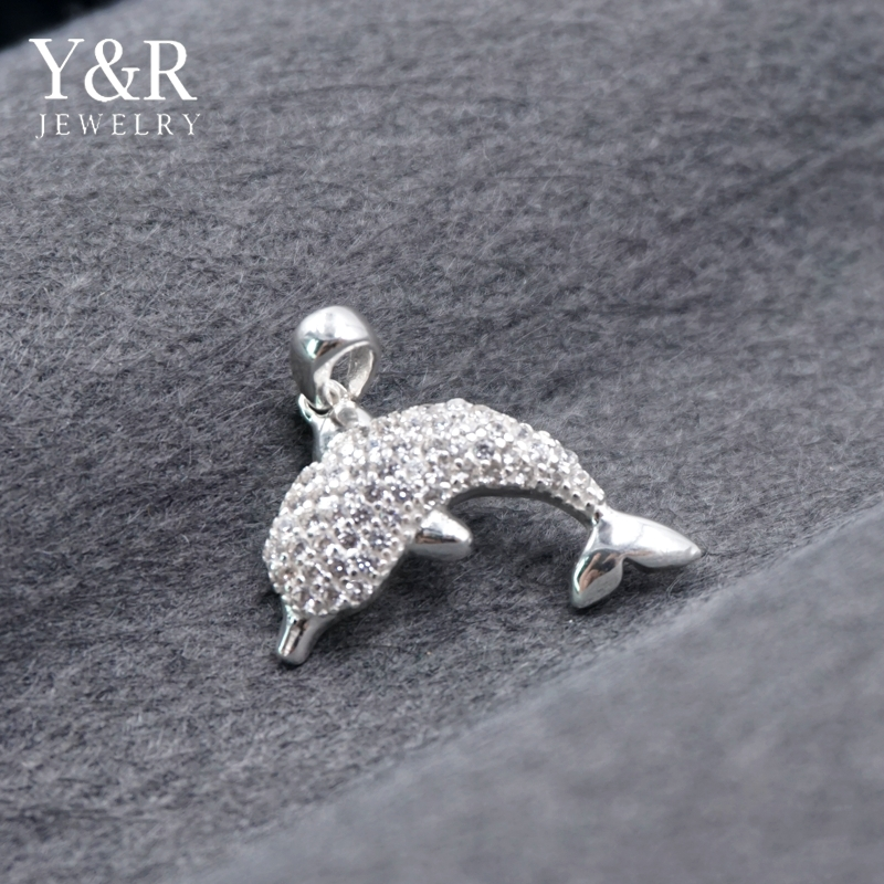 925 Sterling Silver Animal Jewellery Designs Cz Micro Pave Dolphin Pendant For Women