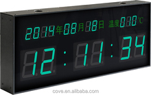 double side wireless LED digital display clock with date time temperature