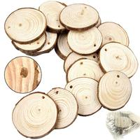 Wholesale Unfinished Predrilled with Hole Wooden Circles Ornaments DIY Crafts