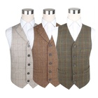 OEM Service Men Vest Suit Wholesale Custom Tweed Cheap Waistcoat Men Plaid Formal Suit Cotton Vest