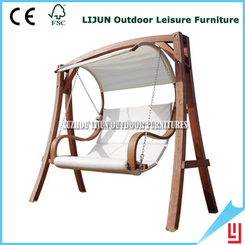 Canvas Hanging Swing Hammock Chair With Solid Wood Hammock Stand
