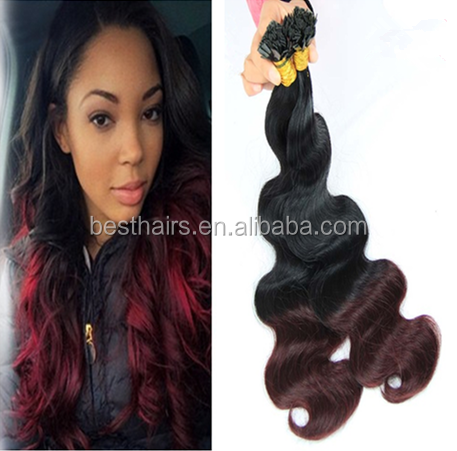 8A Pre Bonded Ombre Flat Tip Hair Body Wave Two Tone 1B/99j Hair Extension Brazilian Human Hair Extension