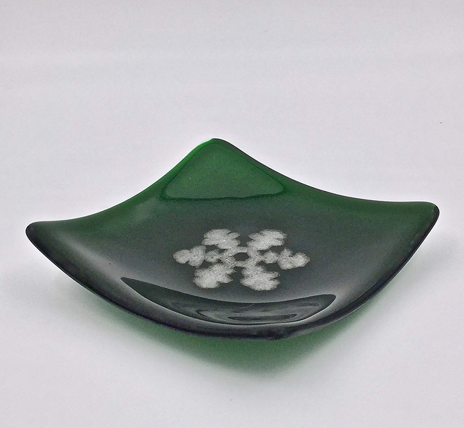 """Metallic Accents Fused Glass 6"""" Decorative Plate with Embossed Snowflake"""
