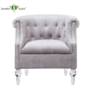 French Living Room Accent Tufted Arm Chairs With Acrylic Legs Rivet  Upholstery Fabric Chesterfield Single Seater
