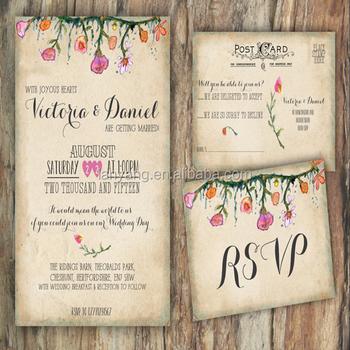 Invito Matrimonio Rustico : Personalizzato shabby chic rustico fiori estivi vintage carta di
