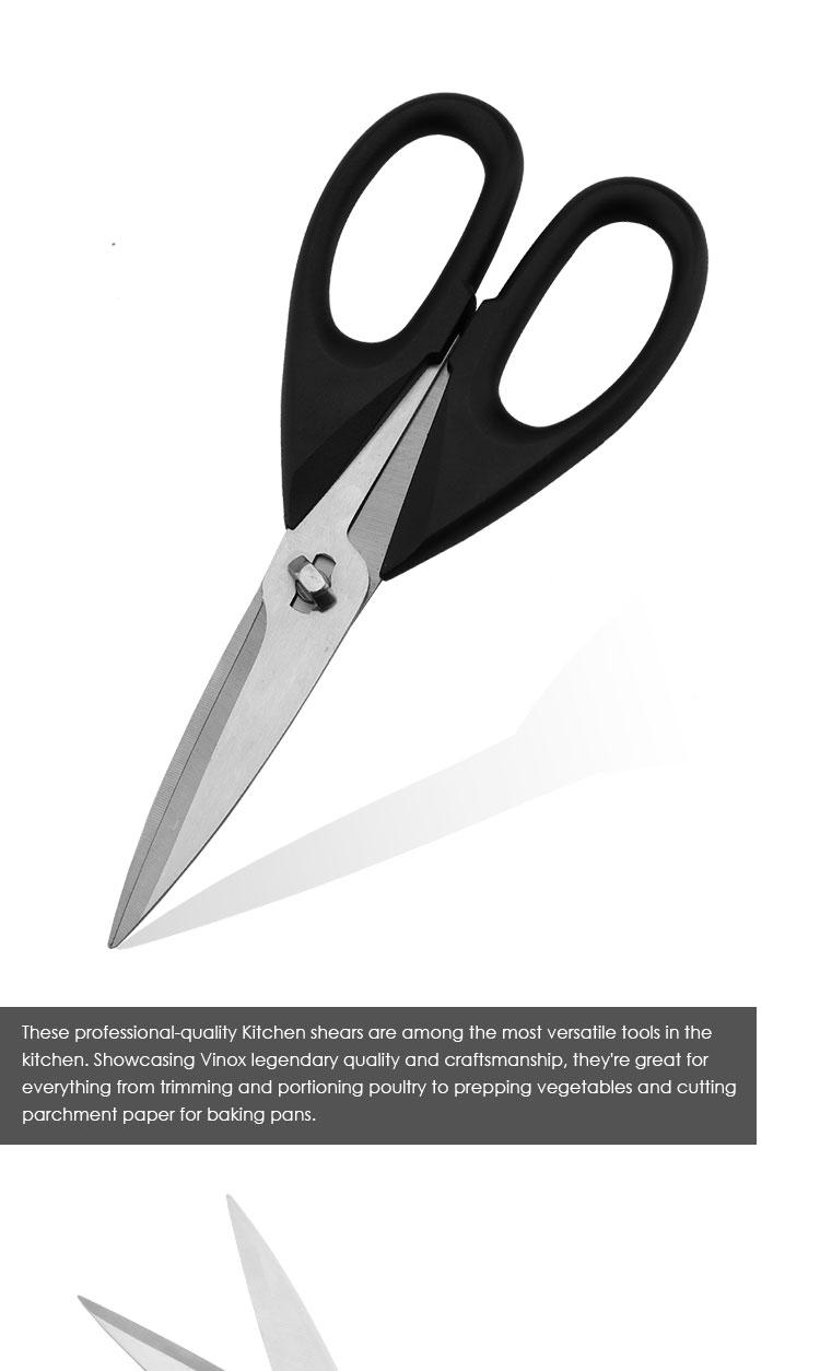 Mutfak Çok Amaçlı Makas Paslanmaz Çelik Mutfak Makası Bıçak kapaklı ve Yumuşak Kavrama Kolları, Siyah