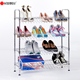 Waterproof Simple Shoe Rack Organizer 4 Tiers Chrome Iron Metal Shoe Stand Rack