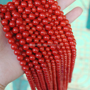 4mm 6mm 8mm natural oil dyed red coral beads jewel semi precious stone beads