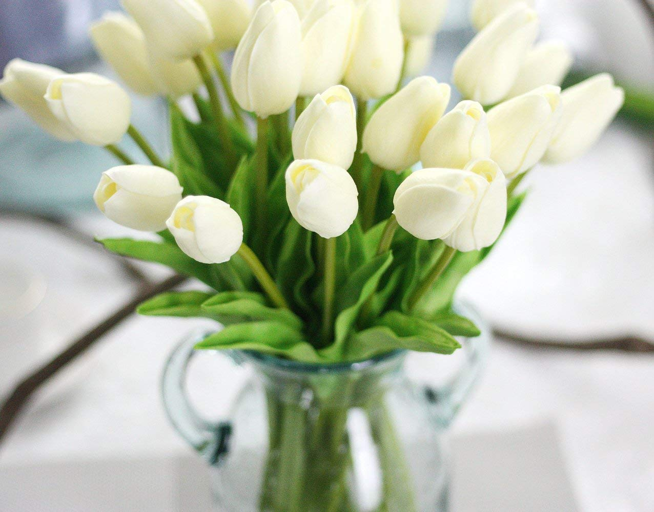 SEEYANG Tulips Artificial Flowers 10 PCS, Fake Flowers PU Small Vintage Décor for Wedding, Home, Party (White)