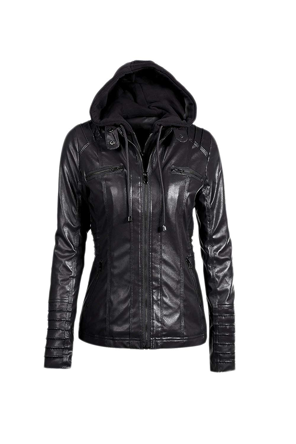 0824ce7706c9a Get Quotations · Women Zip up PU Jacket Hoodie Autumn Hooded Coat Removable  Hat