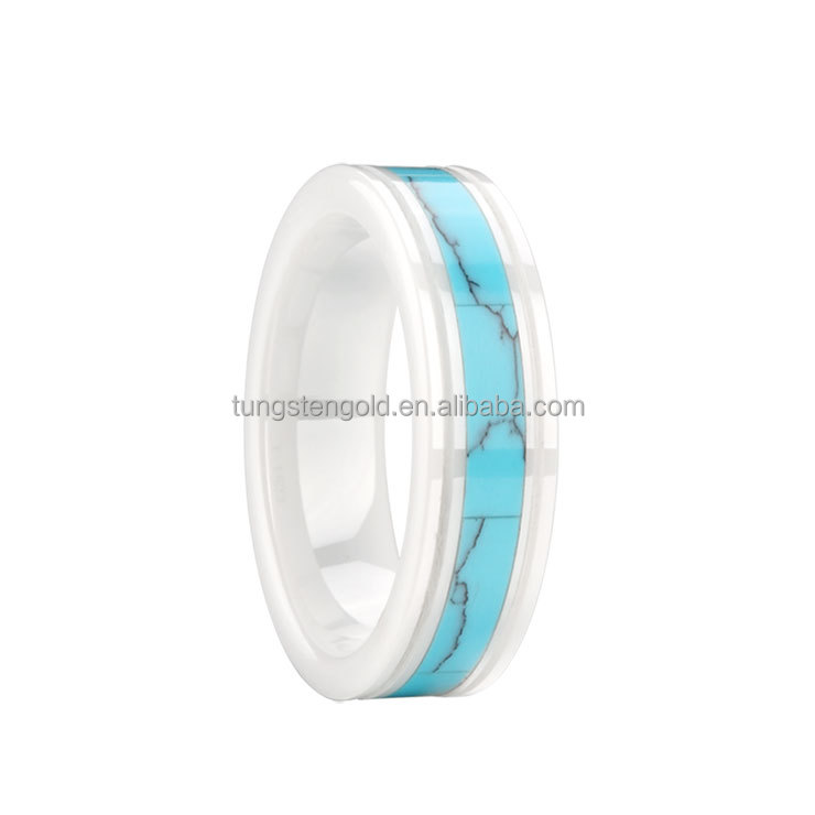 white ceramic wedding band inlay ceramic turquoise ring for women