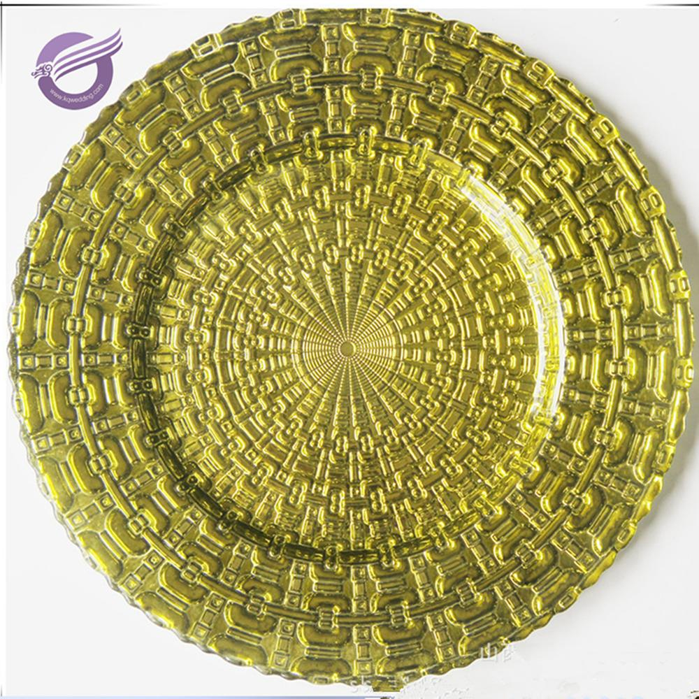 PZ39100 high quality 13'' round wedding decoration gold glass charger plate wholesale