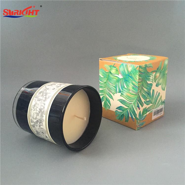 Black Paint Glass Jar Color Paper Box Decorative Scented Candles