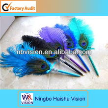 Promotion Pens One Ostrich & Peacock Feather Pen choose black, purple. jade, turquoise royal