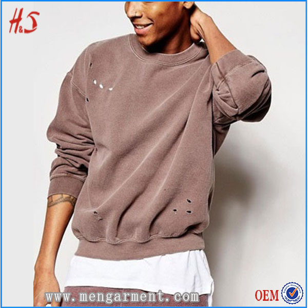 Hot selling products popular new style clothes men oversized sweatshirt with distressing