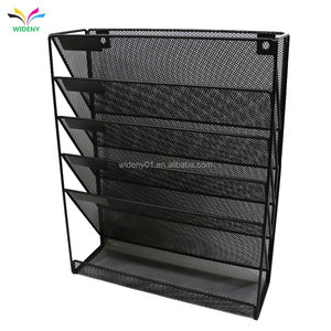 Office home supermarket hanging storage magazine file jewelry wire mesh metal desk attached wall organizer