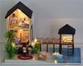Large Assembling DIY Miniature Model Kit Wooden Doll House Maldives Cabin with light Music Furnitures Toys