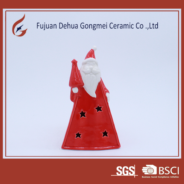 red ceramic craft gifts christmas led light decorative