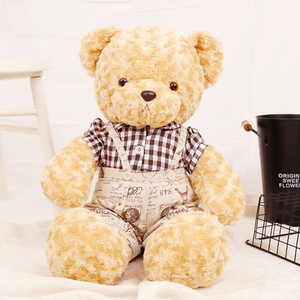 100cm Retro teddy bear valentine gift new design bear with cloth lovers' teddy bear