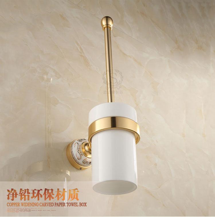 European Antique Gold Toilet Brush Holder Aluminum