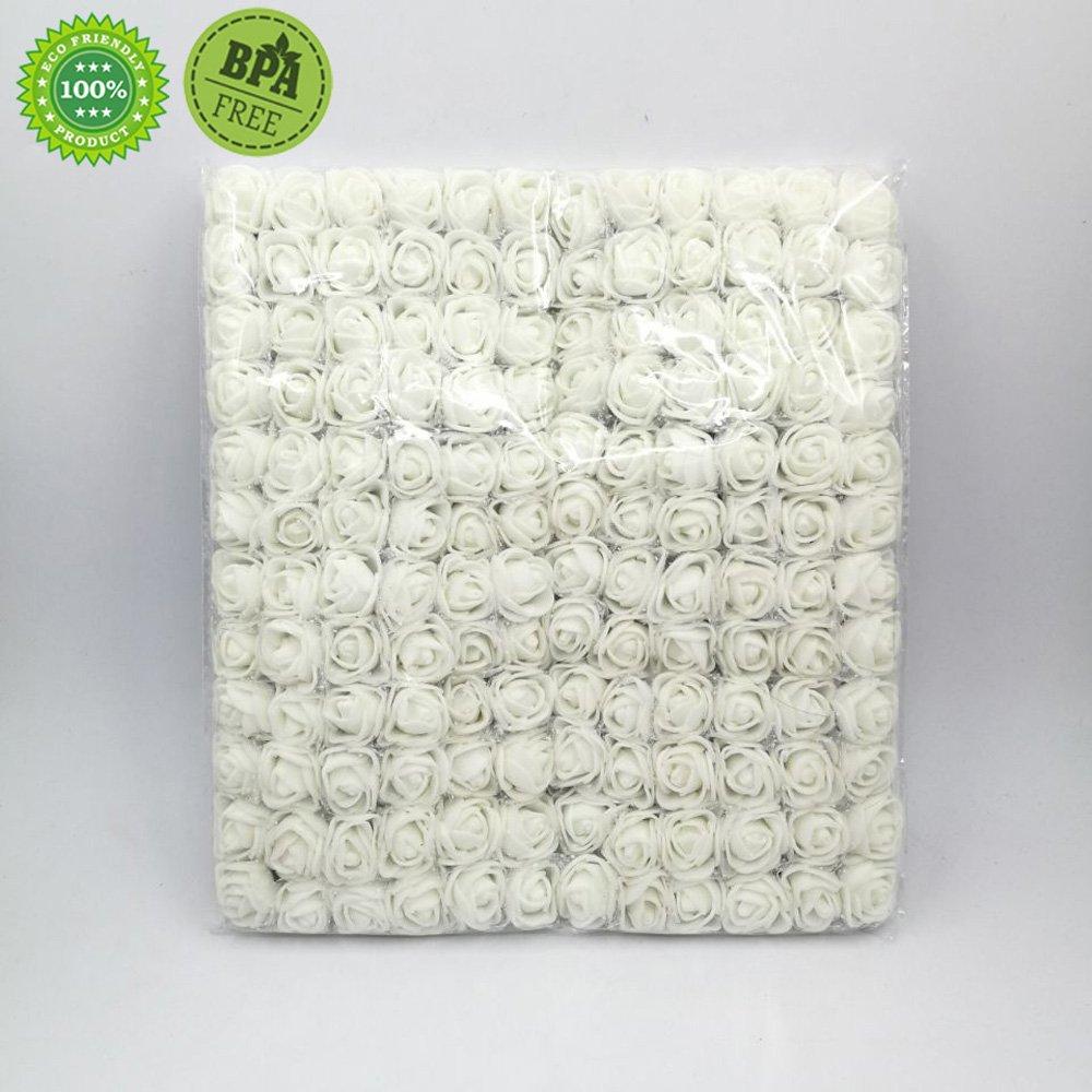 Artificial Flowers rose bouquet For Wedding Decoration DIY Decorative Wreath party 2cm 288pc (white)