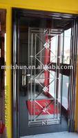 Black titanium plate Stainless Steel Glass Door