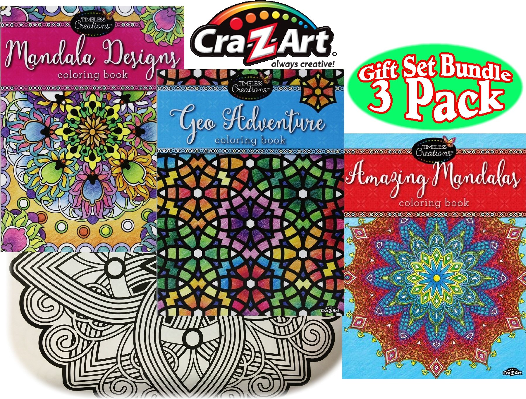 Timeless Collections Mandala Designs Geo Adventure Amazing Mandalas Premium 64 Page Adult Coloring Books Gift Set Bundle