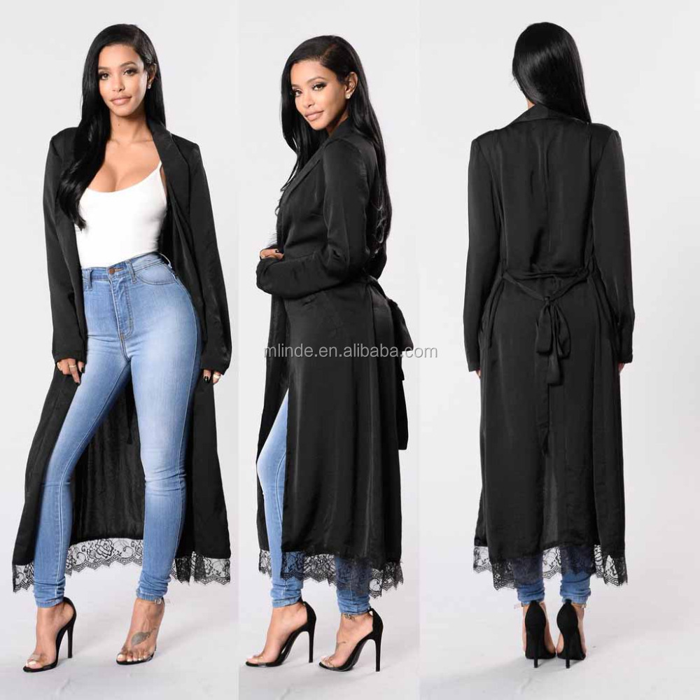 Outwear Casual Cover up Women 100% Polyester Light Weight Mock Pockets Lace Trim Hem Long Sleeve Duster Jacket